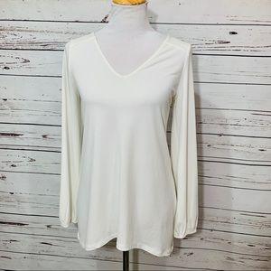 {EXPRESS} White Long Sleeve Lace Up Back Tunic